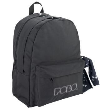 POLO Σχολική τσάντα πλάτης DOUBLE SCARF Μαύρη 901235-02 2019