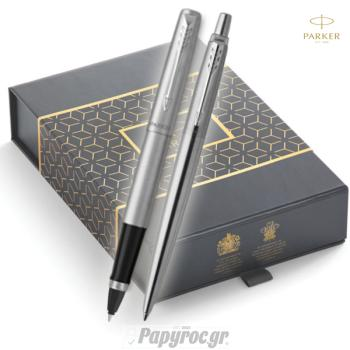 SET GIFTPACK PARKER Στυλό Διαρκείας & Roller Ball Jotter STAINLESS STREET CT