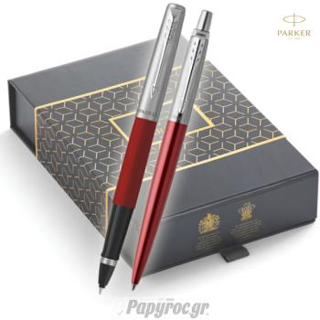 SET GIFTPACK PARKER Στυλό Διαρκείας & Roller Ball Jotter KENSINGTON RED CT