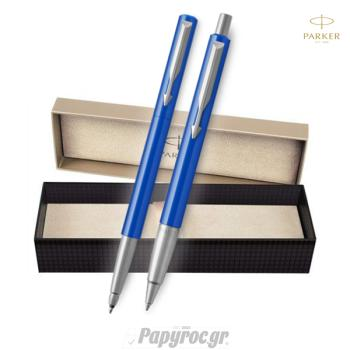 SET GIFTPACK PARKER Στυλό διαρκείας & Roller Ball VECTOR STANDARD BLUE CT