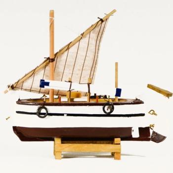 Vintage ξύλινο διακοσμητικό Βάρκα Με Πανί 20.0 cm