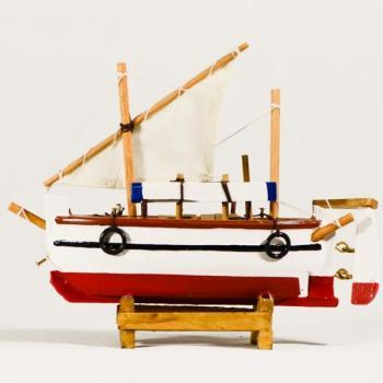 Vintage ξύλινο διακοσμητικό Βάρκα Με Πανί 16.0 cm