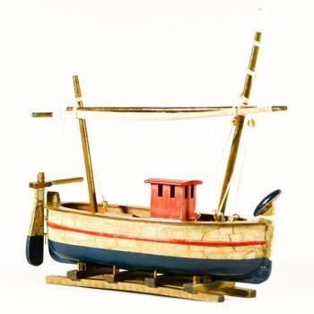 Vintage ξύλινο διακοσμητικό Βάρκα Παλαιωμένη Με Πανί 25.0 cm