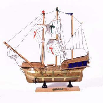 Vintage ξύλινο διακοσμητικό Καράβι Ιστιοφόρο Santa Maria 34.0cm