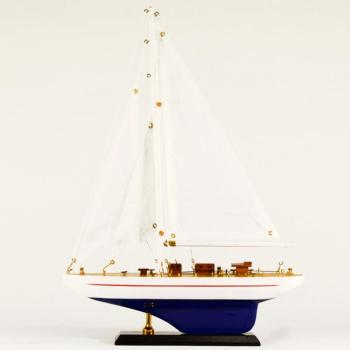 Vintage ξύλινο διακοσμητικό Ξύλινο Καράβι Ιστιοφόρο μπλε - άσπρο 30.0 cm