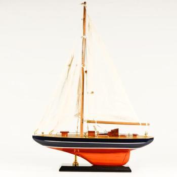 Vintage ξύλινο διακοσμητικό Ξύλινο Καράβι Ιστιοφόρο κόκκινο - μαύρο 30.0 cm