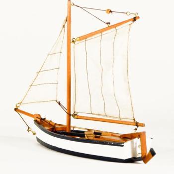 Vintage ξύλινο διακοσμητικό Βάρκα Με Πανί 28.0 cm