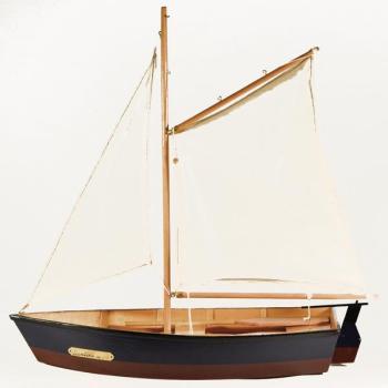 Vintage ξύλινο διακοσμητικό Βάρκα Με Πανί μπλε - κόκκινο 45.0 cm