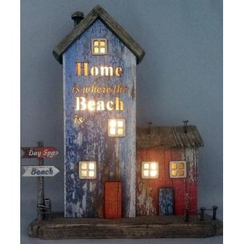 Vintage ξύλινο διακοσμητικό σπίτι με LED 25cm