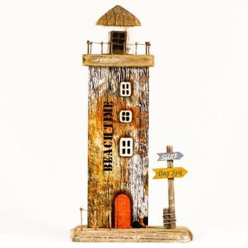 Vintage ξύλινο διακοσμητικό Φάρος με LED 16cm x 29cm