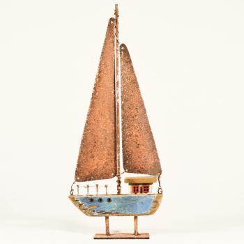Vintage ξύλινο διακοσμητικό Ιστιοπλοϊκό Μπλε σε Βάση 11 cm