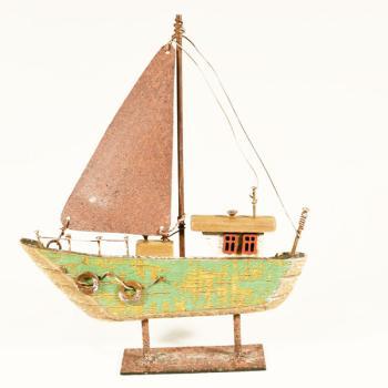 Vintage ξύλινο διακοσμητικό Καραβάκι Πράσινο σε Βάση 15.5 cm