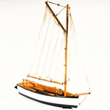 Vintage ξύλινο διακοσμητικό Βάρκα Με Πανί 43.0 cm