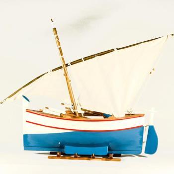 Vintage ξύλινο διακοσμητικό Βάρκα Με Πανί άσπρο - γαλάζιο 42.0 cm