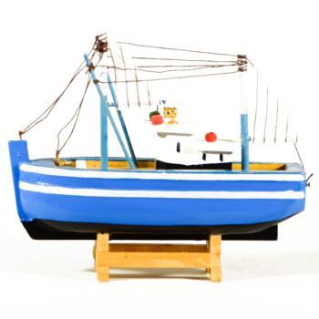 Vintage ξύλινο διακοσμητικό Καϊκι γαλάζιο με λευκό 16.0 cm
