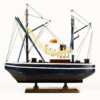 Vintage ξύλινο διακοσμητικό Καϊκι μεγάλων διαστάσεων μπλε σκούρο 33.0 cm X 31.0 cm