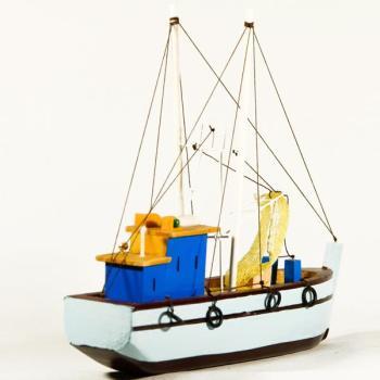 Vintage ξύλινο διακοσμητικό Καϊκι μεγάλων διαστάσεων Γαλάζιο 33.0 cm X 31.0 cm