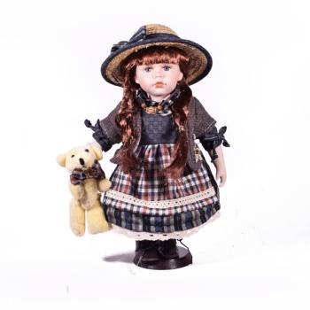 Πορσελάνινη Κούκλα με καπέλο 30.0 cm
