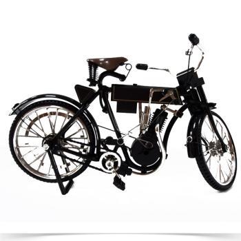 Vintage Διακοσμητικό μινιατούρα σιδερένια το πρώτο Μοτοποδήλατο μαύρο 21.0 cm