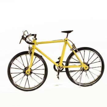Vintage Διακοσμητικό μεταλλική μινιατούρα - Μεταλλικό Αθλητικό Ποδήλατο Κίτρινο 20.0 cm
