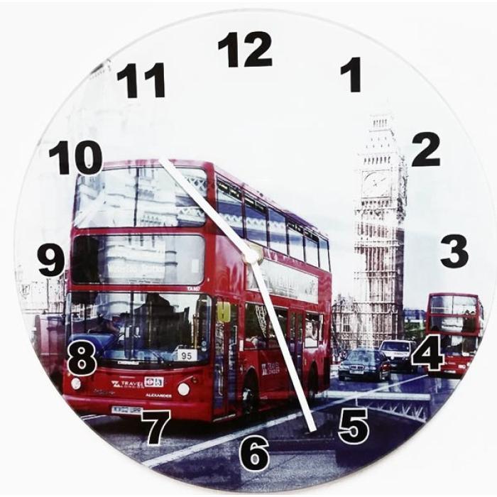 Ρολόϊ τοίχου γυαλί BUS 30.0 cm
