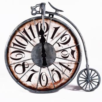 Vintage Διακοσμητικό Ρολόι Ποδήλατο Μεγάλη Ρόδα 33.0cm