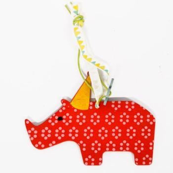 Ξύλινα είδη για πάρτυ - Κόκκινος Ρινόκερος 9.0cm X 7.0cm