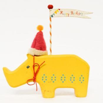 Ξύλινα είδη για πάρτυ - Ρινόκερος Happy Birthday 14.0cm X 15.0cm