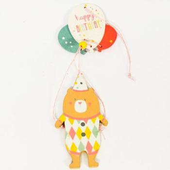 Ξύλινα είδη για πάρτυ - Αρκουδάκι Με Μπαλόνια Happy Birthday No3 20.0cm X 7.0cm