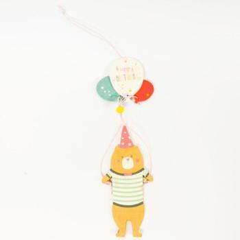 Ξύλινα είδη για πάρτυ - Αρκουδάκι Με Μπαλόνια Happy Birthday 20.0cm X 7.0cm