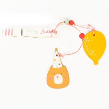Ξύλινα είδη για πάρτυ - Μανταλάκι Αρκουδάκι Μπαλόνι Happy Birthday 20.0cm