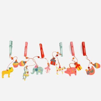 Ξύλινα είδη για πάρτυ - Μανταλάκι Ζωάκι Happy Birthday 15.0cm X 5.0cm