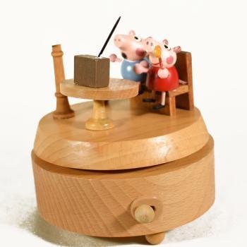 Vintage Διακοσμητικό Μουσικό Κουτί Γουρουνάκια 10 cm