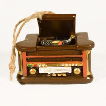 Vintage Διακοσμητικό μινιατούρα πολυεστερικό Γραμμόφωνο Κρεμαστό 7 cm