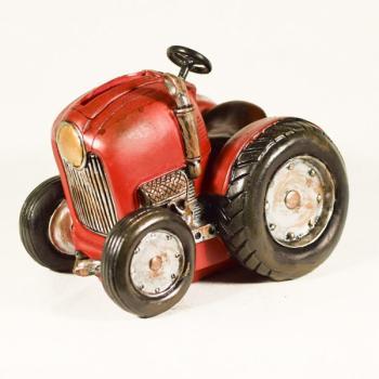 Διακοσμητικό Πολυεστερικό - Κουμπαράς Τρακτέρ κόκκινο 13.5 cm