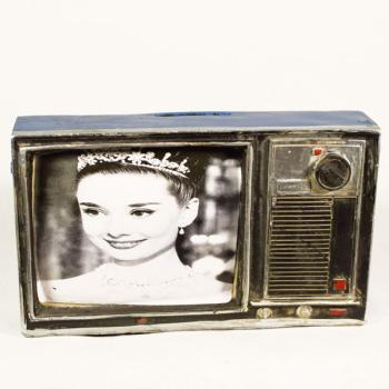 Vintage Διακοσμητικό + Κουμπαράς μινιατούρα σιδερένια Τηλεόραση 18,5cm