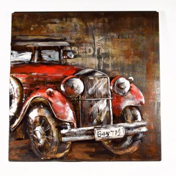 Vintage Κρεμαστό κάδρο πίνακας ξύλινος με μεταλλικό Αυτοκίνητο 50.0 cm