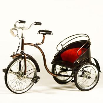 Vintage Διακοσμητικό μεταλλική μινιατούρα - Ποδήλατο Άμαξα 27.0 cm