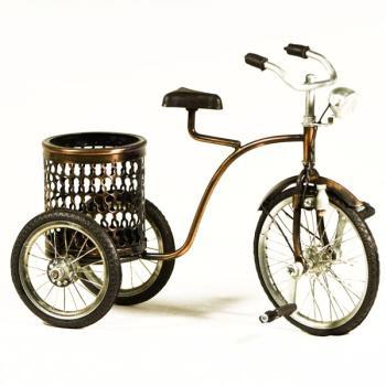 Vintage Διακοσμητικό μεταλλική μινιατούρα - Τρίκυκλο Ποδήλατο Με Καλάθι 26.0 cm