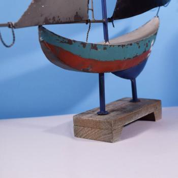 Vintage Διακοσμητικό Καράβι Μεταλλικό με βάση 71.0cm