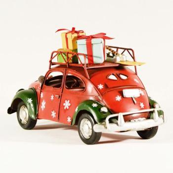 Vintage Διακοσμητικό μεταλλική μινιατούρα - Κόκκινο αυτοκίνητο με δώρα 25cm