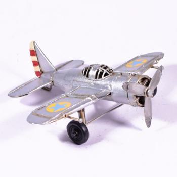 Vintage Διακοσμητικό μεταλλικό μινιατούρα - Αεροπλάνο Ασημί 16.5cm