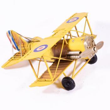 Vintage Διακοσμητικό μεταλλικό μινιατούρα - Αεροπλάνο Κίτρινο 16cm