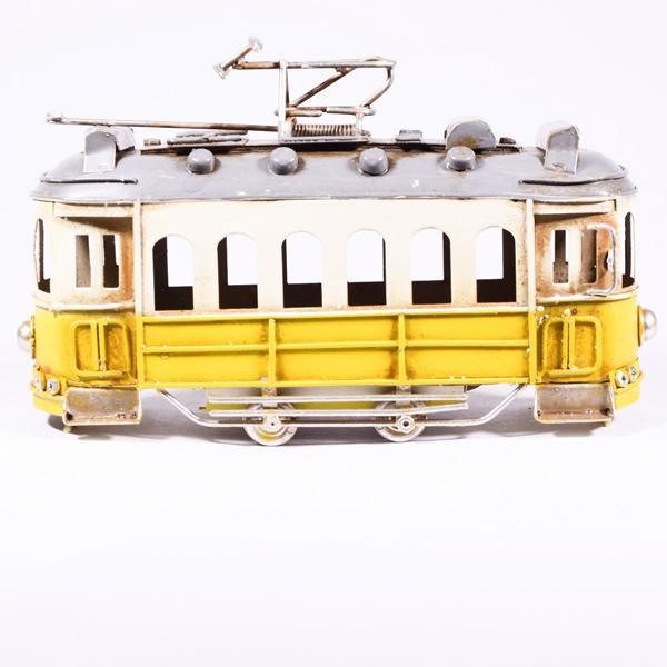 Vintage Διακοσμητικό Τραμ Κίτρινο 16.5cm
