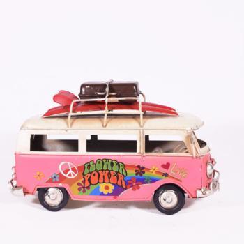 Vintage Διακοσμητικό - Ροζ Λεωφορείο Βαν 17.0cm