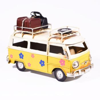 Vintage Διακοσμητικό Λεωφορείο Βαν Κίτρινο Λουλουδάκια 17cm