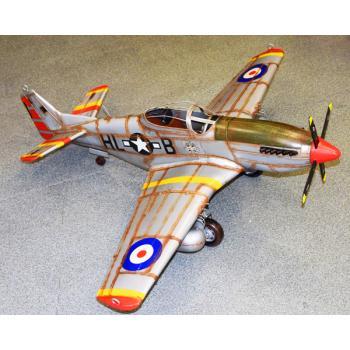Vintage Διακοσμητικό Ασημί Αεροπλάνο (Μεγάλων διαστάσεων) 116.0cm