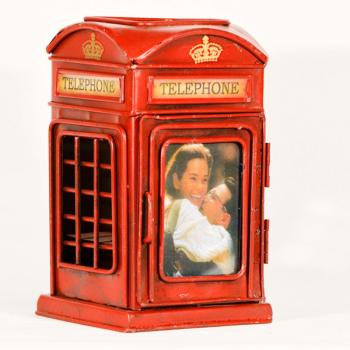 Vintage Διακοσμητικό Τηλεφωνικός Θάλαμος Μολυβοθήκη 16.0cm