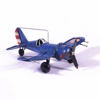 Vintage Διακοσμητικό μεταλλικό μινιατούρα - Μπλε Αεροπλάνο 16.5cm