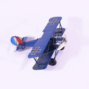 Vintage Διακοσμητικό μεταλλικό μινιατούρα - Μπλε Αεροπλάνο 17.0cm